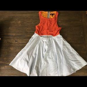 Orange knit and pale blue summer dress